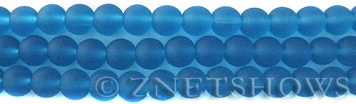 Cultured Sea Glass round Beads  <b>8mm</b> 30-Pacific Blue    per  24 pcs in 8-in-str <b>5-str-hank</b>