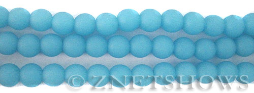 Cultured Sea Glass round Beads  <b>8mm</b> 46-Opaque Blue Opal    per  24 pcs in 8-in-str <b>5-str-hank</b>