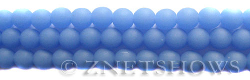 Cultured Sea Glass round Beads  <b>8mm</b> 47-Opaque Sky Blue    per  24 pcs in 8-in-str <b>5-str-hank</b>