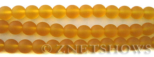 Cultured Sea Glass round Beads  <b>8mm</b> 57-Saffron Yellow    per  24 pcs in 8-in-str <b>5-str-hank</b>