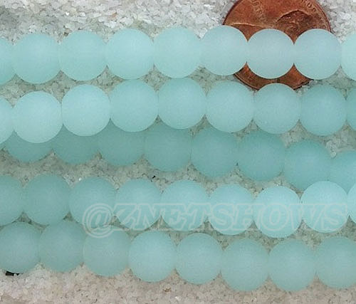 Cultured Sea Glass round Beads  <b>8mm</b> 882-Opaque Seafoam    per 24 pcs in 8-in-str <b>5-str-hank</b>