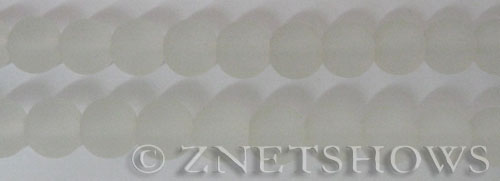 Cultured Sea Glass round Beads  <b>10mm</b> 01-Crystal    per  19 pcs in 8-in-str <b>5-strand-hank</b>