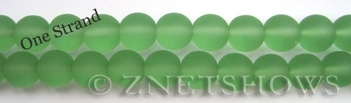 Cultured Sea Glass round Beads  <b>10mm</b> 23-Peridot    per  19 pcs in 8-in-str