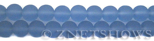 Cultured Sea Glass round Beads  <b>10mm</b> 31-Light Sapphire    per  19 pcs in 8-in-str <b>5-strand-hank</b>