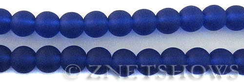 Cultured Sea Glass round Beads  <b>10mm</b> 33-Royal Blue    per  19 pcs in 8-in-str <b>5-strand-hank</b>