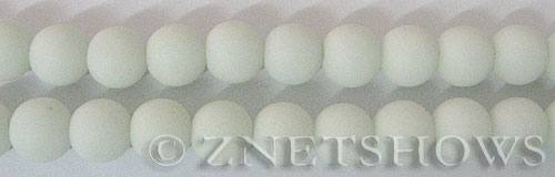 Cultured Sea Glass round Beads  <b>10mm</b> 42-Opaque White    per  19 pcs in 8-in-str <b>5-strand-hank</b>