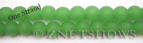 Cultured Sea Glass round Beads  <b>10mm</b> 44-Opaque Spring Green    per  19 pcs in 8-in-str