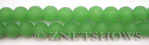 Cultured Sea Glass round Beads  <b>10mm</b> 44-Opaque Spring Green    per  19 pcs in 8-in-str <b>5-strand-hank</b>