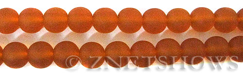 Cultured Sea Glass round Beads  <b>10mm</b> 83-Tangerine    per  19 pcs in 8-in-str <b>5-strand-hank</b>