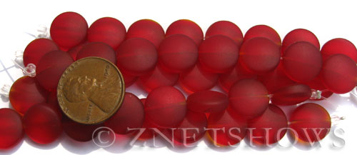 Cultured Sea Glass coin puffed Beads  <b>12mm</b> 05-Cherry Red (8-pc-str)(4-in-str)   per  <b>5-str-hank</b>