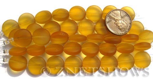 Cultured Sea Glass coin puffed Beads  <b>12mm</b> 16-Desert Gold (8-pc-str)(4-in-str)   per  <b>5-str-hank</b>