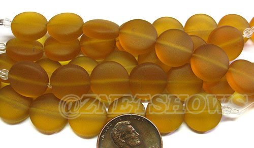 Cultured Sea Glass coin puffed Beads <b>12mm</b> 17-Amber  (8-pc-str)(4-in-str) per <b>5-str-hank</b>