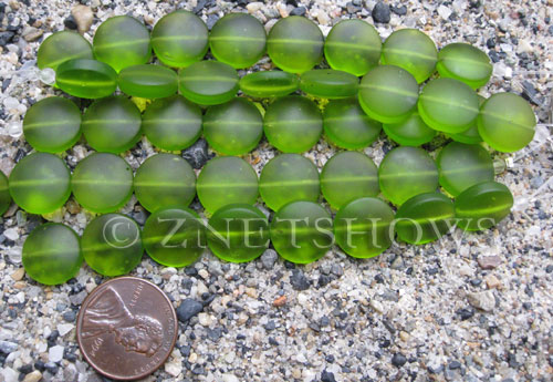 Cultured Sea Glass coin puffed Beads  <b>12mm</b> 22-Olive (8-pc-str)(4-in-str)   per  <b>5-str-hank</b>