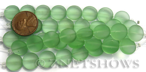 Cultured Sea Glass coin puffed Beads  <b>12mm</b> 23-Peridot (8-pc-str)(4-in-str)   per  <b>5-str-hank</b>