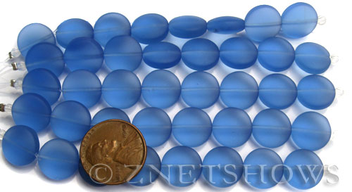 Cultured Sea Glass coin puffed Beads  <b>12mm</b> 31-Light Sapphire (8-pc-str)(4-in-str)   per  <b>5-str-hank</b>