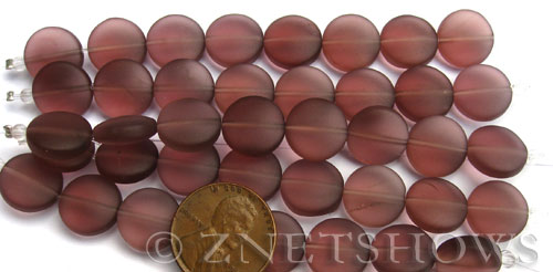 Cultured Sea Glass coin puffed Beads  <b>12mm</b> 37-Medium Amethyst (8-pc-str)(4-in-str)   per  <b>5-str-hank</b>