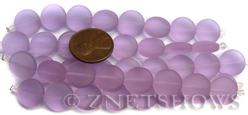 Cultured Sea Glass coin puffed Beads  <b>12mm</b> 39-Periwinkle Changes (8-pc-str)(4-in-str)   per  <b>5-str-hank</b>