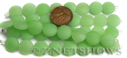Cultured Sea Glass coin puffed Beads  <b>12mm</b> 43-Opaque Seafoam Green (8-pc-str)(4-in-str)   per  <b>5-str-hank</b>