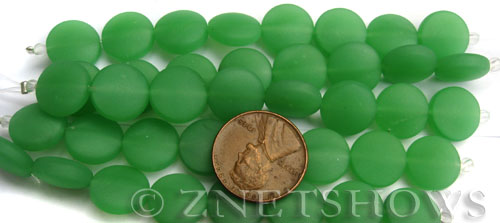 Cultured Sea Glass coin puffed Beads  <b>12mm</b> 44-Opaque Spring Green (8-pc-str)(4-in-str)   per  <b>5-str-hank</b>