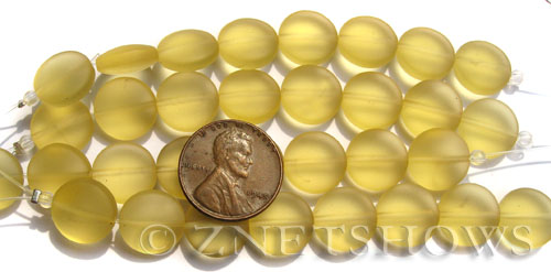 Cultured Sea Glass coin puffed Beads  <b>12mm</b> 84-Lemon (17-pc-str)  per  <b>8-inch-strand</b>
