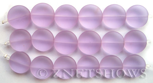 Cultured Sea Glass coin puffed Beads  <b>15mm</b> 39-Periwinkle Changes (6-pc-str)   per  <b>5-str-hank</b>