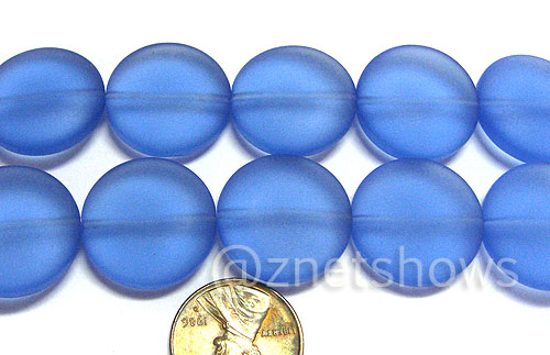Cultured Sea Glass coin puffed Beads  <b>20mm</b> 31-Light Sapphire    per  <b>8-in-str</b>