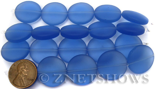 Cultured Sea Glass coin puffed Beads  <b>20mm</b> 31-Light Sapphire (5-pc-str)(4-in-str)   per  <b>5-str-hank</b>