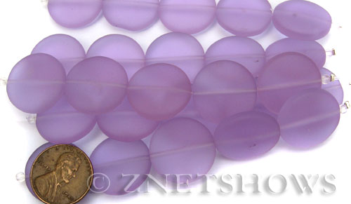 Cultured Sea Glass coin puffed Beads  <b>20mm</b> 39-Periwinkle Changes (5-pc-str)(4-in-str)   per  <b>5-str-hank</b>