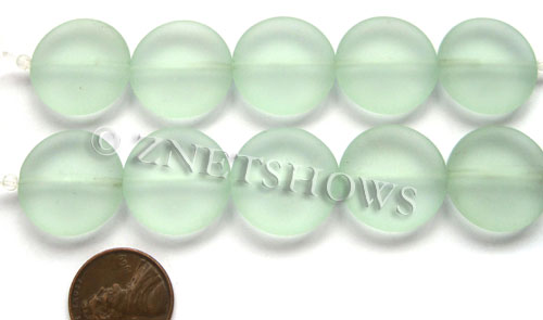 Cultured Sea Glass coin puffed Beads  <b>20mm</b> 88-Light Aqua `Coke` bottle Seafoam 5-pc-str   per  <b>5-str-hank</b>
