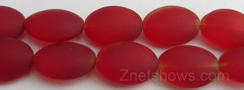 Cultured Sea Glass oval Beads  <b>18x13mm</b> 05-Cherry Red red with small orange flares one each end - interesting swirl   per  <b>11-pc-str</b>