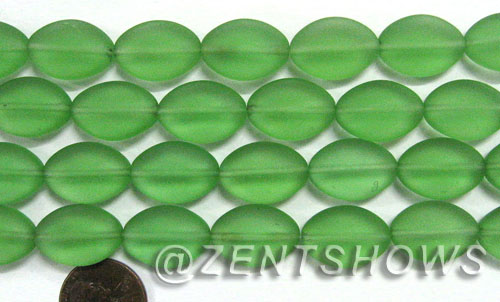 Cultured Sea Glass oval Beads  <b>18x13mm</b> 23-Peridot    per  <b>11-pc-str</b>