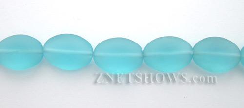 Cultured Sea Glass oval Beads  <b>18x13mm</b> 28-Turquoise Bay    per  <b>11-pc-str</b>