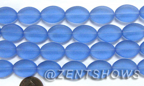 Cultured Sea Glass oval Beads  <b>18x13mm</b> 31-Light Sapphire    per  <b>11-pc-str</b>