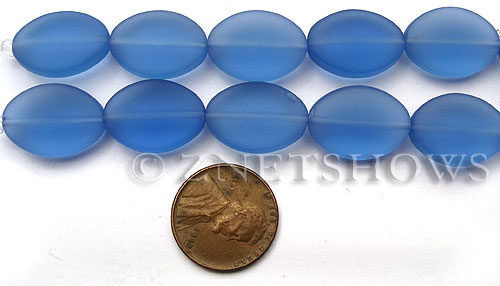 Cultured Sea Glass oval Beads  <b>18x13mm</b> 31-Light Sapphire (4-in-str)(6-pc-str)   per  <b>5-str-hank</b>
