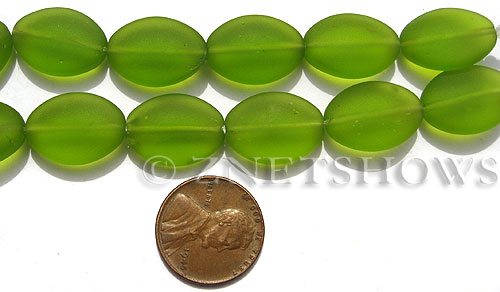 Cultured Sea Glass oval Beads  <b>18x13mm</b> 80-Lime Green (8-in-str)(11-pc-str) some beads may have bubbles due to recycled glass   per  <b>33-pc-bag</b>