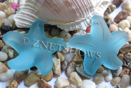 Cultured Sea Glass starfish large Pendants  <b>32mm</b>   28-Turquoise Bay    per  <b>7-pc-bag</b>