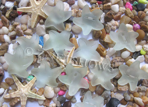 Cultured Sea Glass starfish small Beads  <b>20x7mm</b> 88-Light Aqua `Coke` bottle Seafoam    per  <b>10-pc-bag</b>