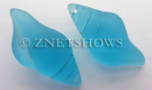 Cultured Sea Glass conch shell Pendants  <b>39x20mm</b> 28-Turquoise Bay    per  <b>8-pc-bag</b>