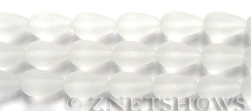 Cultured Sea Glass teardrop round Beads  <b>16x10mm</b> 01-Crystal (4-in-str)(6-pc-str)   per  <b>5-str-hank</b>