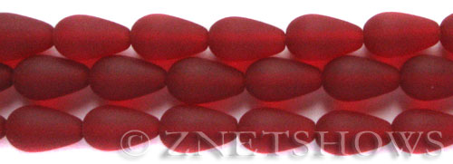 Cultured Sea Glass teardrop round Beads  <b>16x10mm</b> 05-Cherry Red (12-pc-str)   per  <b>8-in-str</b>