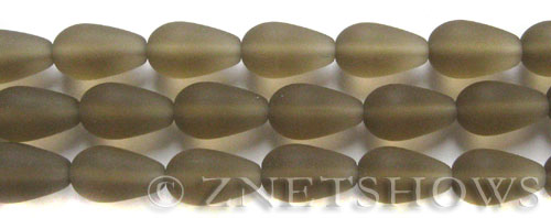Cultured Sea Glass teardrop round Beads  <b>16x10mm</b> 15-Smoky Quartz  (4-in-str)(6-pc-str)   per  <b>5-str-hank</b>