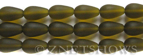 Cultured Sea Glass teardrop round Beads  <b>16x10mm</b> 22-Olive (12-pc-str)   per  <b>8-in-str</b>
