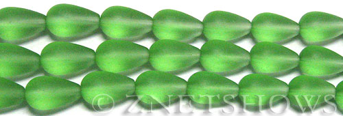 Cultured Sea Glass teardrop round Beads  <b>16x10mm</b> 23-Peridot (12-pc-str)   per  <b>8-in-str</b>