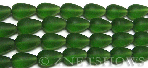 Cultured Sea Glass teardrop round Beads  <b>16x10mm</b> 25-Shamrock (12-pc-str)   per  <b>8-in-str</b>