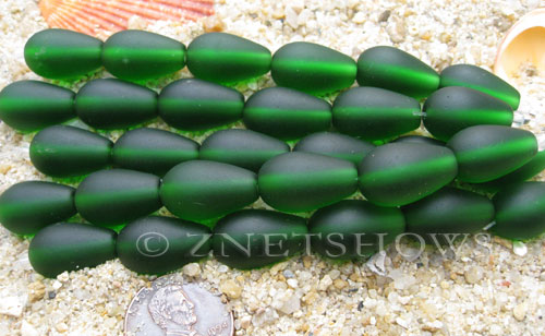 Cultured Sea Glass teardrop round Beads  <b>16x10mm</b> 25-Shamrock (4-in-str)(6-pc-str)   per  <b>5-str-hank</b>