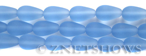 Cultured Sea Glass teardrop round Beads  <b>16x10mm</b> 31-Light Sapphire (12-pc-str)   per  <b>8-in-str</b>
