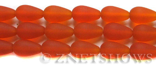 Cultured Sea Glass teardrop round Beads  <b>16x10mm</b> 83-Tangerine (12-pc-str)   per  <b>8-in-str</b>