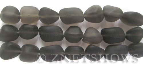 Cultured Sea Glass nugget Beads  <b>10-15mm</b>  15-Smoky Quartz  (7-pc-str)   per  <b>5-strand-hank</b>