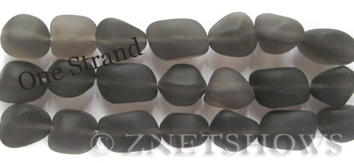 Cultured Sea Glass nugget Beads  <b>10-15mm</b> 15-Smoky Quartz     per  <b>7-pc-str</b>