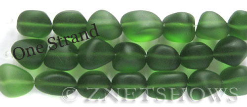 Cultured Sea Glass nugget Beads  <b>10-15mm</b> 25-Shamrock    per  <b>7-pc-str</b>